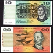 Australian Decimal Banknotes - Ten and Twenty Dollars
