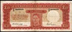 Australian pre decimal ten pound banknote