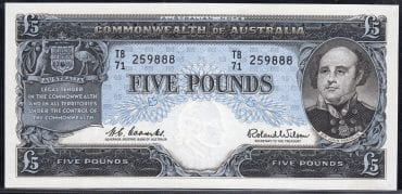 R50 FIVE POUND COMMBS WILSON RESERVE BANK PAIR FCU OBVERSE
