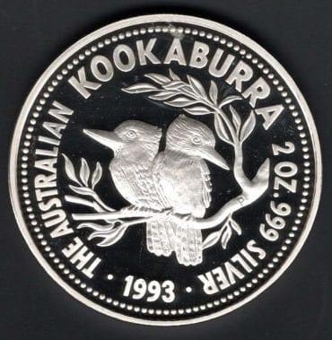 KOOKABURRA 1993 2 OZ PROOF TO AB OBVERSE