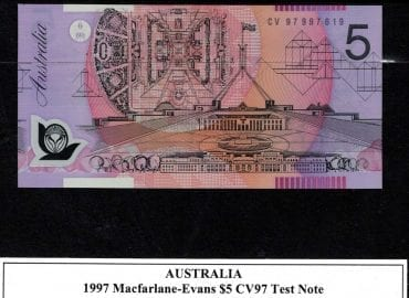 CV97 997 619 5D TEST NOTE Obverse